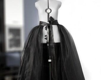 Detachable tulle skirt Bridal overskirt Layered ball skirt Wedding train Black ball gown Prom maxi skirt Bridal gown Puffball  Black gown