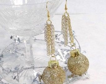 gold glitter earrings, new years earrings, Christmas earrings, holiday earrings, gold dangle earrings, new years eve, ornament earrings
