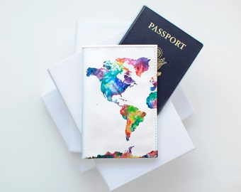 Colorful Map Passport Holder Personalized Leather Passport Holder Travel Document Wallet Leather Passport Cover Sale Passport Woman CP0074