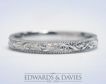 Hand Engraved White Gold Wedding Band Ring   Antique Style Wedding Ring   Stacking Ring   Antique Engraved Ring   Wedding Ring  Promise Ring