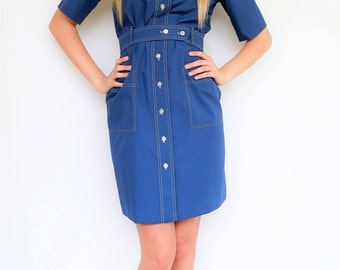Cobalt Blue Button Up Dress with Pockets