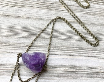 Raw Amethyst Pendant Necklace // Purple Stone Necklace // Long Necklace // Natural Stone Necklace // Boho Necklace // Gift for Her