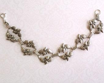 Antique Acorn Bracelet,Art Nouveau Bracelet, 1940s Bracelet, Designer Wanacraft Bracelet, Sterling Silver Bracelet, Gifts for Her