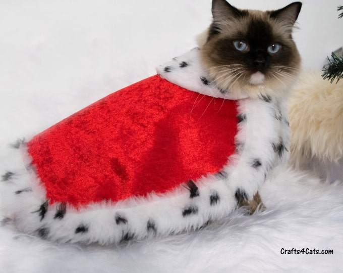 Featured listing image: Royal Cat Costume - Royal Velvet Cloak Costume for Cats with Ermine faux fur - Royal Cloak Dogs - King cat costume - pet Christmas costume