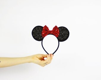 Minnie Mouse Ears Headband with Red Bow | Glitter Disney Minnie Birthday Ears with Sparkle Bow | Baby Girl Party Headband