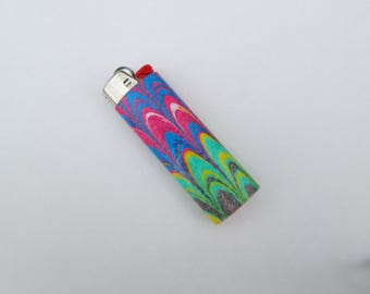 Cute Bic lighter, colorful pattern, marbled