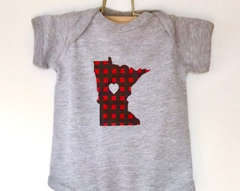 Baby Onesie Minnesota Flannel Love - Screen Printed Minnesota Red Buffalo Check Babies Onesie - Baby Boy Baby Girl Minnesota Bodysuit