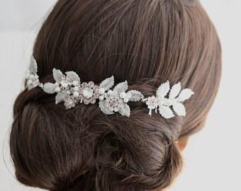 Blush Hair Accessory Decorative Hair Comb Pink Bridal Hairpiece Blush Wedding Hair Accessory Floral Hair Comb  Bun Headpiece STACEY