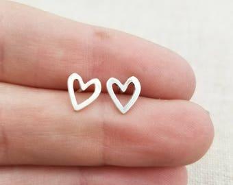Earrings - Stud Earrings - Gift - Heart Earrings - Stocking Stuffer - Silver Jewelry - Ready to Ship