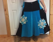 Plus Size Black Teal Long Velvet Skirt with Crochet Doilies/Patchwork/Pockets/Aline/Upcycled Recycled Repurposed/Skirts for Women/Size 2X