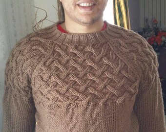 Men Hand Knit Sweater Vest size L Brown (cafe latte) color
