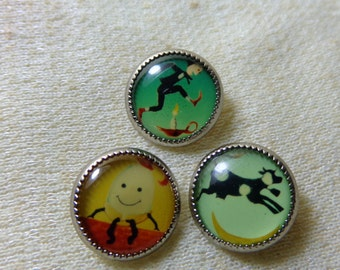 Vintage Round Nursery Rhyme, Shank Sewing / Craft Buttons or Jewelry supply Humpty Dumpty, Jack Be Nimble, Cow Jumped over the Moon