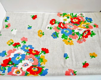Floral Fabric Pre Cut Material Bright Colors Flower Print, Cotton Blend Beige Burlap Style Sewing Craft Fabric DIY  26 x 50