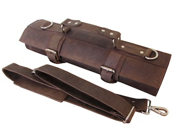 Leather Knife Roll, Compact Knife Bag, Leather Chefs Bag, Knife Case, Chef Bag, 5 Slot Chef's Roll, Silver Buckle - KR2b