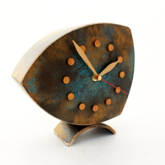 Table clock desk brown gold turquoise wood