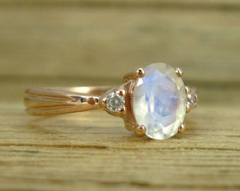 Moonstone Engagement Ring, Antique Gold Ring, Vintage Moonstone Engagement Ring, Vintage Oval Engagement Ring, Rose Gold Moonstone Ring