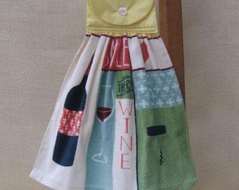 Wine Hanging Kitchen Towel, Wine Party Towel, Yellow Kitchen Decor, Kitchen Towels, Wine Lover Gift