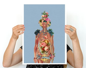 You are beautiful -Body Girl Woman gift- Feminist art- Wall decor art, Anatomical art decor, Best friend gift, SKA115WA3