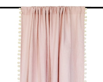 Pom pom curtain, Natural linen curtains with pompom trim, Dusty rose, Serenity blue, Black, Dove grey curtains, Privacy or blackout curtains