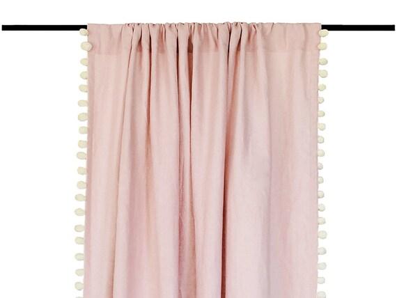 Pom Pom Curtain Natural Linen Curtains With Pompom Trim