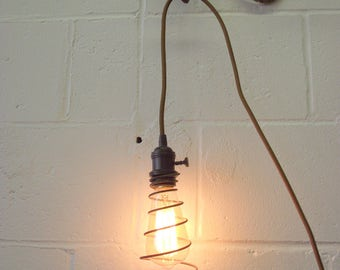 Large Antique Bedspring Light Lamp Pendant Hanging - Edison Bulb - Repurposed Industrial Architectural Lighting - Ceiling Mount or Plug In
