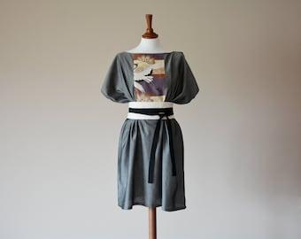 Gray tunic dress, boho dress, japanese tunic dress, loose fit dress, Maxi dress, Boho clothing, Grey tunic, Short dress, Bohemian tunic