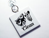 Clean Dishes Sign, Dirty Dishes Sign, Works on stainless steel, Dishwasher Sign, Kitchen Sign, Sign with suction cup, black white (7258)
