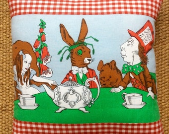 Vintage Alice In Wonderland Fabric Cushion With Interior 40cmx40cm