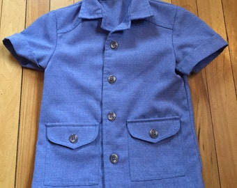Vintage 1970s Toddler Boys Blue Chambray Button Down GayTogs Shirt Top! Size 3T