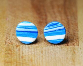 Stud Earrings - Space Earrings - Blue Earrings - Polymer Clay Jewellery - Gift For Her - Girlfriend Gift - Gift Idea - Fashion Earrings -