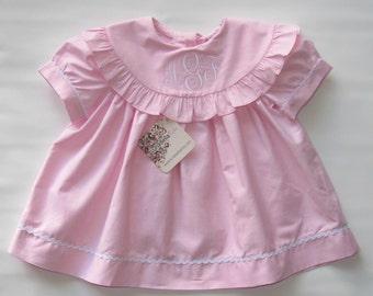 Monogram Dress, Easter Dress Girl, Personalized Dress, Girls Monogram Dress, Easter Dress Toddler, Baby Dress, Pink Stripe 6M,2T,3T,4T,5T,6T