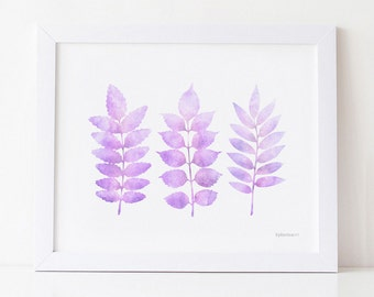 Pastel Purple Wall Art Leaves Printable Watercolor Nursery Room Art Print Lavender Decor