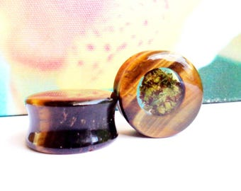 Tigers Eye Cannabis Filled Plugs-Marijuana Plugs-Stone Plugs-Tigers Eye Tunnels-Tigers Eye Jewelry-Unique Plugs-Gifts for Stoners-Weed Plugs