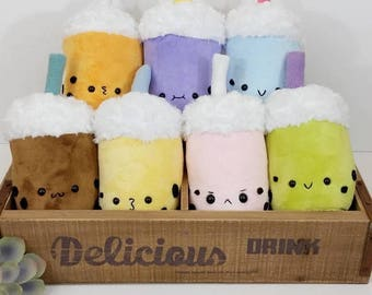 Bubble Tea Plushie - Cuddly Kawaii Plush Toy - bubble tea stuffie, cute geeky toy, cute food plush toy