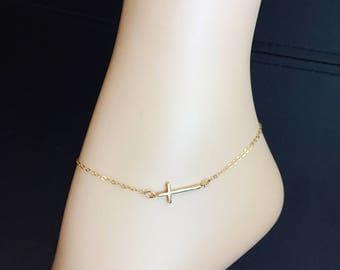 Gold Cross Anklet - Sideways Cross Ankle Bracelet - Gold Filled Chain - Simple Cross - Bridal Anklet - Religious Anklet - Skinny Cross