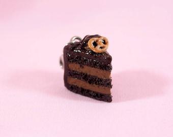 Chocolate Cake Charm ; Cute Miniature Food Jewelry