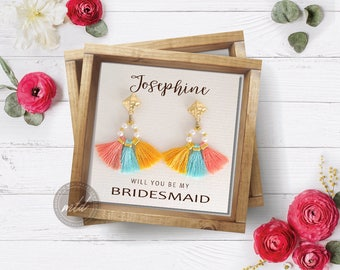 Bridesmaid tassel earrings, Fan shape earring, Boho earrings, Tassel earrings, Bohemian earrings, Fringe earrings, Bridesmaids gift,