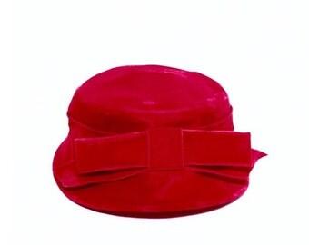 Red Velvet Ladies Vintage Hat
