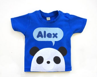 Organic Baby T-Shirt : Baby Boy Personalized Baby Panda T-Shirt, Baby Boy, Baby Shower Gift