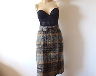 1950s Tweed Pencil Skirt plaid wool wiggle skirt with matching belt