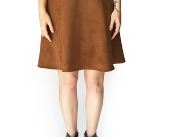 Brown skirt, Winter skirt, Brown suede like skirt, Vegan skirt, Basic skirt, Handmade skirt, Mini skirt, Evening skirt, Short skirt
