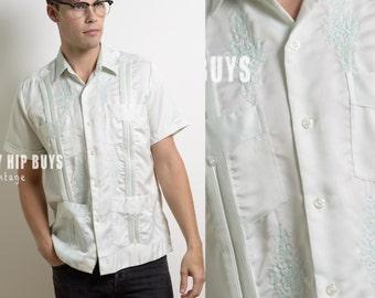 Men's Vintage shirt,Men's 70s shirt, Men's Blue shirt, Vintage Blue shirt, Men's embroidered shirt, Light blue shirt,Men's dress shirt - S/M