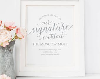 Printable Signature Cocktail Sign Wedding // Printable Wedding Bar Menu Sign // Editable Cocktail Sign // Gray Wedding Signs