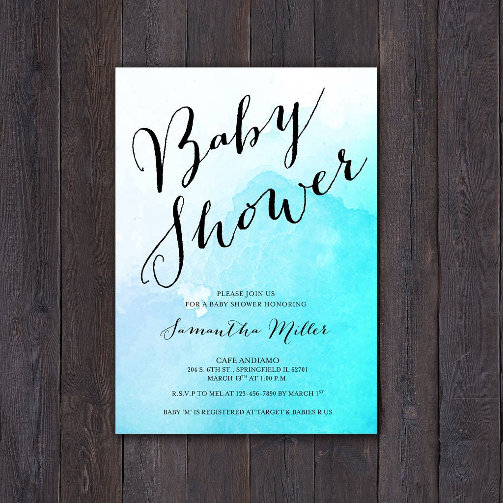 Diy watercolor baby shower invitation calligraphy baby boy blue diy watercolor baby shower invitation calligraphy baby boy blue script font instant filmwisefo