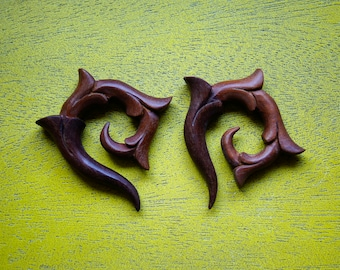 Pair Handmade Organic Wood Spirals - Hanger Plugs Tapers (0g) (8mm)