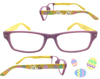 Women's 2.25 Strength Hand Painted Easter Reading Glasses with White Bunnies and Pastel Easter Eggs.  Spring Temples for Comfort!