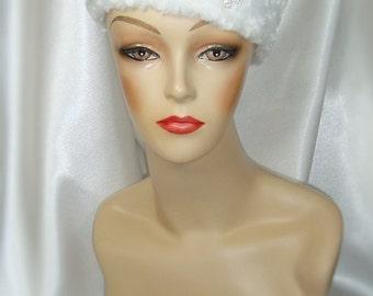 White Faux Fur Pillbox Hat,  Russian Zhivago Style Fur Hat, Winter Wedding Hat, Downton Abbey and Mr. Selfridge Inspired Hat