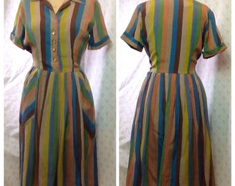 Classic vintage 1950's/early 60's multi coloured striped shirt waist dress/rayon dacron/autumnal/fit'n'flare dress