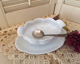Vintage White Porcelain Bavarian Gravy Server