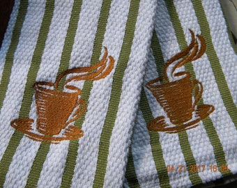 Coffee embroidered kitchen hand towels